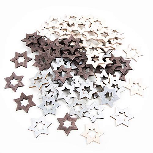Logbuch-Verlag 70 Mini Holzsterne Sterne Holz klein braun grau Silber Streudeko Streusterne Streuteile Weihnachten Weihnachtsstreuteile zum Streuen