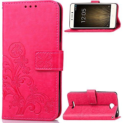 Hülle für BQ Aquaris U, BQ Aquaris U Lite Handyhülle Leder Tasche Schutzhülle Stoßfest Flip Case Klapphülle Ständer Brieftasche Ledertasche - Rot