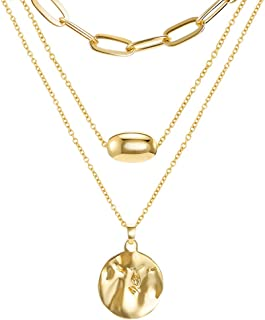 Gold Layered Pendant Long Necklace, Chain CZ Teardrop and Filigree Pendant Costume Jewelry for Women