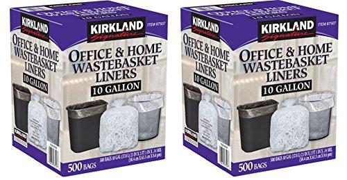Kirkland Signature 10 Gallon Clear Wastebasket Liner, 2 Pack (500 Bags)