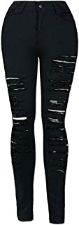 Macondoo Womens High Waist Destroyed Pants Ripped Stretchy Denim Jeans