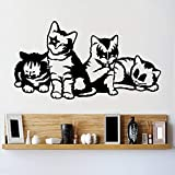 zhuziji Vinyle décoratif Groupe de Chat Bisou Sticker Mural Art Design Chat Sticker Mural Amovible Animal Sticker mural116x62cm