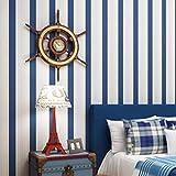 ACCEY Blau gestreifte Baby Jungen Schlafzimmer Dekor Tapetenrolle selbstklebende Kinderzimmer schälen und kleben Tapetenstreifen Papel de Parede W199@Blue_0.53X3m