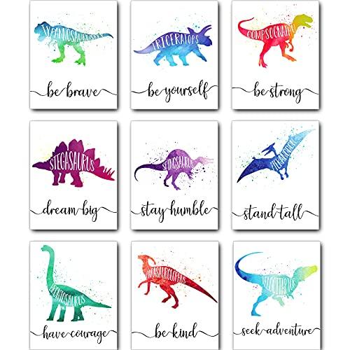 Zonon 9 Pieces Dinosaur Boy Room Decor Dinosaur Watercolor Poster Wall Art Prints Dinosaur Motivational Words Inspirational Quotes Wall Decals for Nursery Classroom Kids Room Decoration Unframed