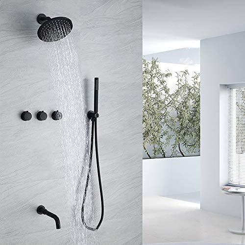 Conjunto de grifos de ducha Negro (válvula incluida) - Sistema de ducha con cabezal de ducha fijado a presión de 8 pulgadas - kit de ducha de baño Instalación oculta - fácil instalación- ecológico- ec
