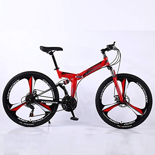 HHRen Folding Mountainbike 21-Gang Außenreit Raddurchmesser (61cm / 66cm) Doppelstoßdämpfung Mechanische Scheibenbremse Sport Bike,Rot,61cm