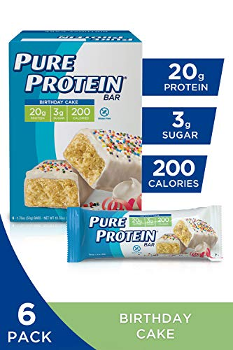 Pure Protein Bars, High Protein, Nurtritious Snacks to Support Energy, Low Sugar, Gluten Free, Birthday Cake, 1.76oz, 6 Pack