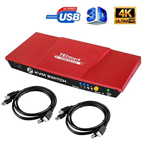 TESmart 2Fach HDMI KVM Switch,4K Ultra HD mit 3840 x 2160 bei 30Hz; mit 2 Stck 1,5m KVM-Kabel unterstützt USB-2.0-Gerätebedienung bis max. 2 Computer/Server/DVR (Rot)
