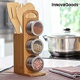 InnovaGoods IG815134 Set de Especieros Magnéticos con Utensilios de Bambú Bamsa 7 Piezas, Acero Inoxidable