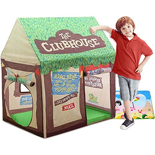 YUEHAPPY Playhouse for Kids Indoor, Kids Play Tent, Tree Pop Up Play Tents for Kids' Gifts Naturalplay House,Toys for Clubhouse Tent with Roll-Up Door And Windows