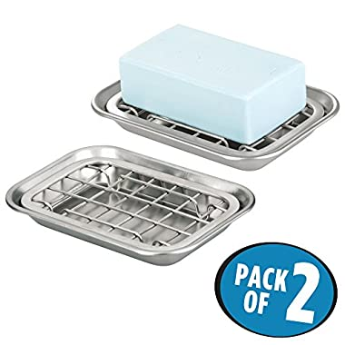 mDesign 2-Piece Soap Dish Tray for Kitchen Sink Countertops: Drainer and Holder for Soap, Sponges - Drainage Grid with Tray - Pack of 2, Rust Resistant Stainless Steel Metal in Brushed Finish