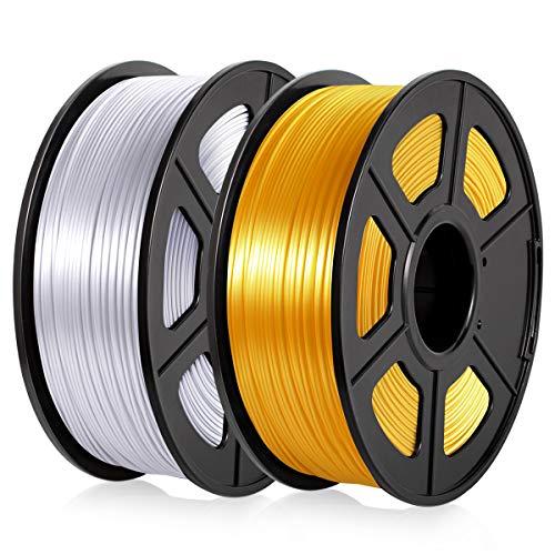 PLA Filamento 1,75MM, PLA Filamento Stampante 3D PLA Silk 2KG, PLA Shiny Silky Light Gold+Silver