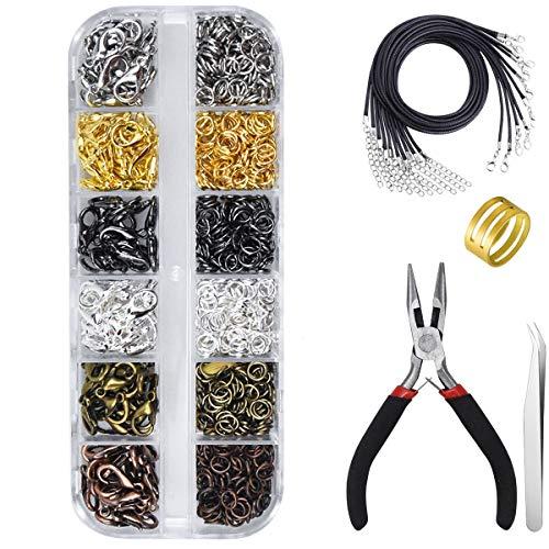 Kissral Accesorios de Joyería de Bricolaje Kit de Fabricación Joyas con Caja de Plástico para Principiantes Creación Manual Fabricación de Joyas Collares Pulseras