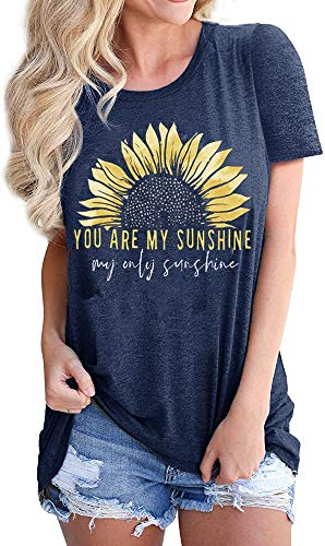 Women Sunflower Workout Funny Shirts You are My Sunshine Cute Graphic Relaxed Athletic Holiday Tee Tops, Blue M
