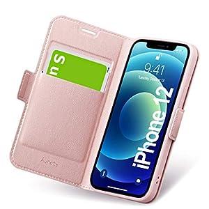 iPhone12ケース iPhone 12 ケース 手帳型 薄型 スマホカバー PUレザー 全面保護 耐衝撃 カード収納 マグネット付き ワイヤレス充電対応 スタンド機能 シンプル おしゃれ (アイフォン12ケース ローズゴール)