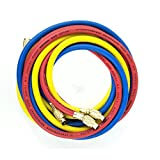 Wisepick 3 Colors AC Charging Hoses Tube for R134a Air Conditioning Refrigerant 1/4' SAE Thread Hose 70 inch