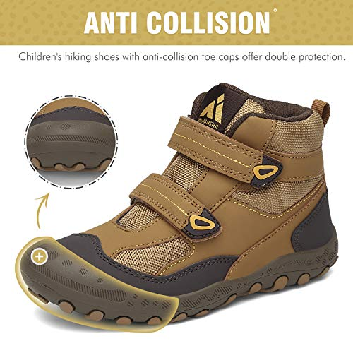 Mishansha Zapatos de Senderismo para Niños Zapatillas de Trekking Niña Antideslizante Exterior Botas de Montaña Ligero, 028 Marrón, 26 EU