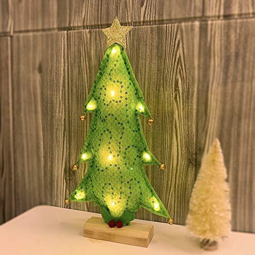 KEAIDO Lámpara de árbol de Navidad preiluminada de 33 cm con luz LED, decoración de escritorio de Navidad para fiestas de temporada (verde)