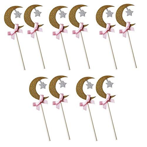 10x Toruiwa Pic Décoration Gâteau Figurine Topper Forme de Lune pour Anniversaire Mariage Fête Saint-Valentin
