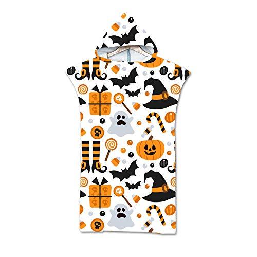 NAID wisselende handdoek poncho volwassenen wisselende poncho pompoen licht print strandlaken unisex badjas eenheidsmaat 140 * 75cm