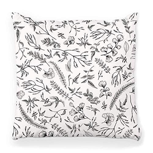 Hangdachang Decorative Throw Pillow Cover Square 18x18 Floral Pattern Vintage Botanical White Engraving Plant Herb Herbal Outline Rustic Leaf Black Etch Weed Home Decor Zippered Pillowcase
