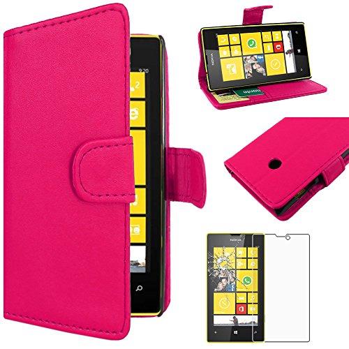 ebestStar - Cover Compatibile con Nokia Lumia 520 Custodia Portafoglio Pelle PU Protezione Libro Flip, Rosa + Pellicola Vetro Temperato [Apparecchio: 119.9 x 64 x 9.9mm, 4.0'']