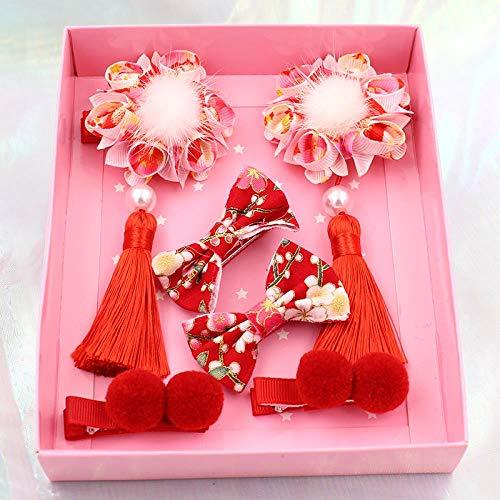Hanfu coiffure chinois antique gland épingle à cheveux cadeau de Nouvel An coffret fille balle cheveux enfants costume Cheongsam Tang, fleur rouge C