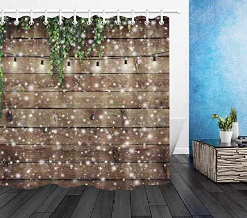LB Weihnachten Duschvorhang 150X180cm Holzbrett,grüne Blätter,Weiße Schneeflocke Bad Gardinen Polyester Wasserdicht Anti Schimmel Badezimmer Deko Heimzubehör mit Vorhanghaken