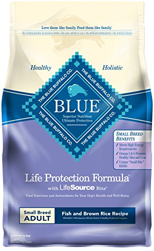 Blue Buffalo Life Protection Formula Small Breed Dog Food – Natural Dry Dog Food for Adult Dogs – Fish and Brown Rice – 6 lb. Bag