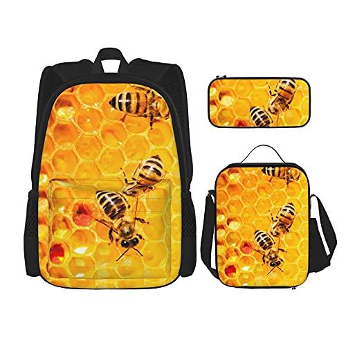 Bee On Honingraat Print Rugzak Voor Jongens Tieners Boekentas Reizen Dagrugzak, Lunch Bag En Potlood Case Combinatie