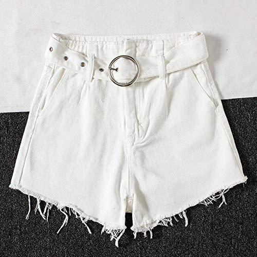 DAIDAICDK Women'S zwart/wit hoge taille jeans vrouwelijke kwastjes Raw Edged Denim Shorts met riem Wild Fashion Mini Cowboy Shorts
