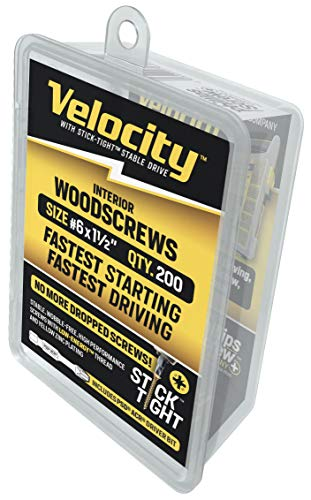 Velocity Interior Wood Screw #6 x 1-1/2' DIY Pack - Includes 200QTY Fasteners & 1 PSD ACR Driver Bit