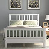White Bed Frame Full 500lb Heavy Duty,JULYFOX Hard Wood Platform Bed with Headboard Slatted Footboard No Box Spring Needed (Full, White)