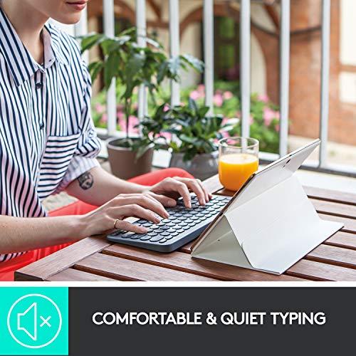 Logitech K380 Kabellose Bluetooth-Tastatur, Multi-Device & Easy-Switch Feature, Windows- und Apple-Shortcuts, PC/Mac/Tablet/Handy/Apple iOS+TV, Englisches QWERTY-Layout - schwarz