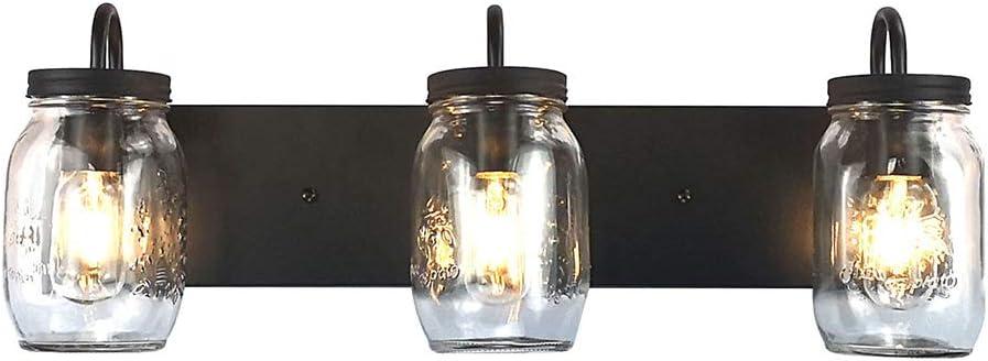 LMSOD unisex Vanity OFFer Glass Wall Lights Mason Sconce Black Jar for B