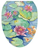 Toilet Tattoos, Toilet Seat Cover Decal, Lily Pads, Size Elongated