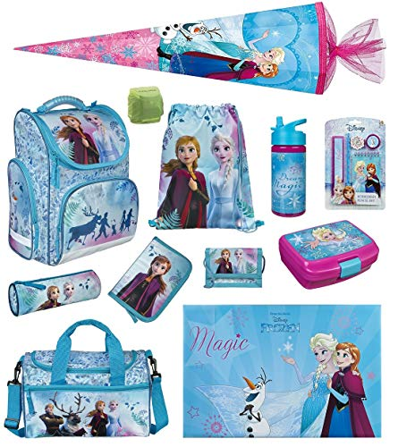 Disney Die Eiskönigin Mädchen Schulranzen-Set 16 TLG. Modell CLOU Ranzen 1. Klasse | Schultasche mit Brotzeit-Dose, Trink-Flasche, Sporttasche, Schultüte 85cm und Regenschutz | Frozen II Türkis