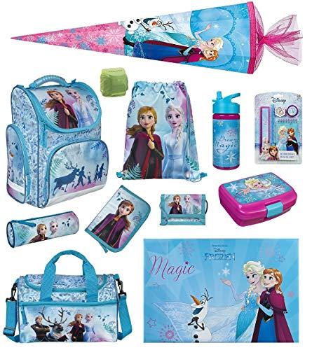 Disney Die Eiskönigin Mädchen Schulranzen-Set 16 TLG. Scooli Export CLOU Schultasche mit Brotzeit-Dose, Trink-Flasche, Sporttasche, Schultüte 85cm und Regenschutz Frozen II Ranzen 1. Klasse