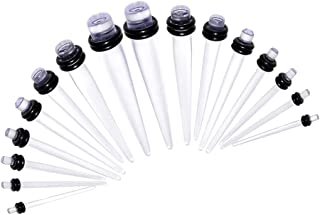 Lovoski 18 Pieces Fashion Acrylic Ear Tapers Plug Set Stretching Expander Stretcher