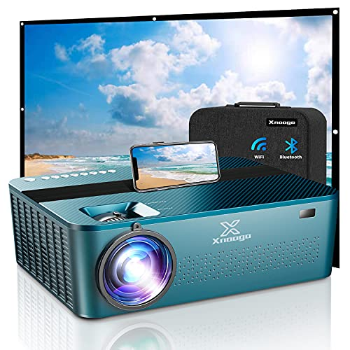 """5G WiFi Bluetooth Projector 4k with 450"""",9000Lux 1920×1080P 4K Projector for Outdoor Movies Support Dolby & Zoom,Wireless Projector Home & Outdoor Projector for iOS/Android/PS4"""