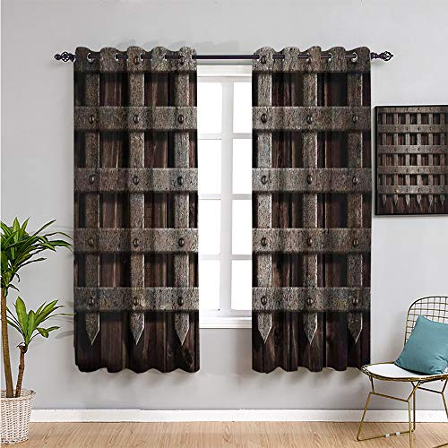 VICWOWONE medieval Heat Insulation Curtain, Curtains 84 inch length medieval wooden castle wall and gate greek style mid century designed artwork print Daily use W84 x L84 Inch grey