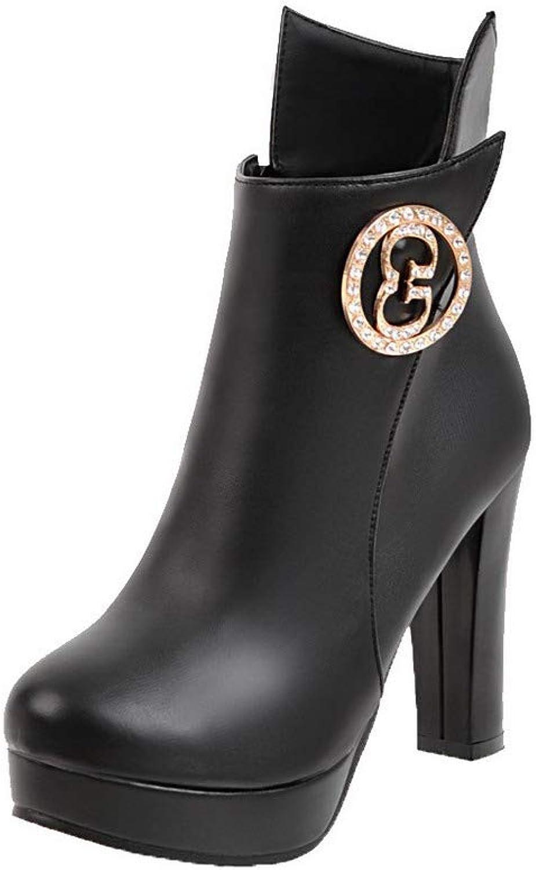 WeiPoot Women's Solid High-Heels Round-Toe Pu Zipper Boots, EGHXH109909