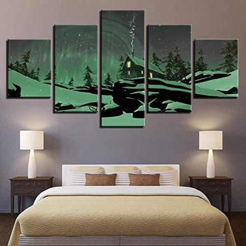 JYXJJKK 5 Arte de grabado 150 * 100 CM solo lienzo Paisaje de cabaña de madera de aurora verde Dormitorio Empresa Bar Habitación infantil Pasillo Obra de arte Papel pintado decorativo Regalos Navidad