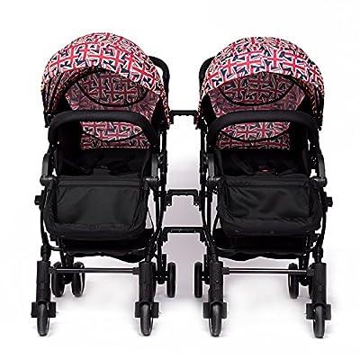 YIHANGG Twins Baby Pram 2 En 1 Cochecito De Bebé Carrito Luxury Reversible Toddler High View Cochecito De Bebé Recién Nacido,Multi-colored