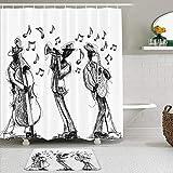 TARTINY 2-teiliges Duschvorhang-Set mit rutschfesten Teppichen,Skizzenstil einer Jazzband, die Musik mit Instrumenten & Musiknoten spielt mit 12Haken,Rutschfeste Badematte,wasserdichter Duschvorhang