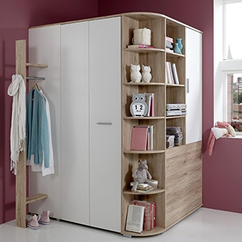 Kinderzimmer Eck-Kleiderschrank begehbar + Garderobe, Sonoma Eiche wei