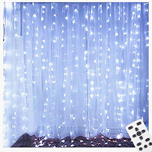 LIGHTESS LED Curtain Lights with Remote Control 300 LEDs Twinkle Light Outdoor/Indoor Window Wall String Fairy Lights for Bedroom, Party, Wedding Backdrop, Cool White