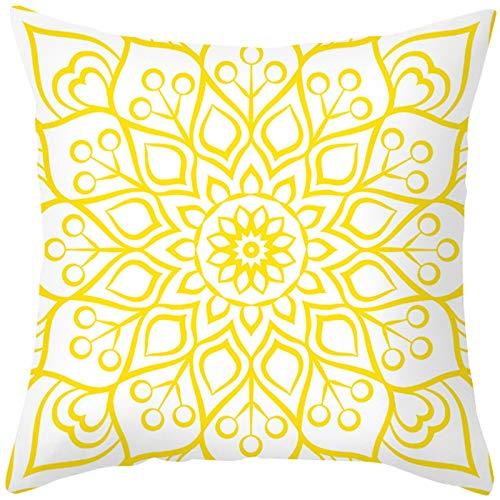 KnBoB Funda de Cojin 40 x 40 cm Blanco Amarillo Patrón de Flores Poliéster Estilo 8
