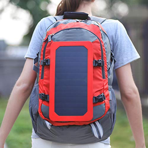 KUIDAMOS Nylon Solar Backpack Durable Laptop Backpack Sturdy Anti-Theft Solar Backpack,for Climbing Mountaineering Camping(red)