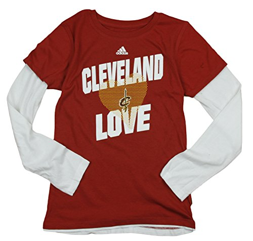 Adidas Performance Cleveland Cavaliers NBA Big Girls a maniche lunghe, strato T–Shirt, vino Large 14–vino